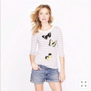 J. Crew Merino Tippi sweater in stripe monarch